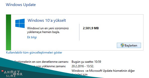 Windows 10 'a Yüksel