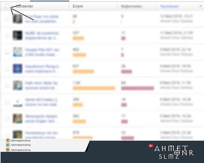 Facebook Sayfa Toplu Paylaşım Silmek