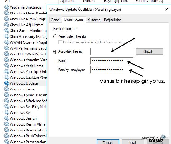 Windows Update kapatma oturum değişimi