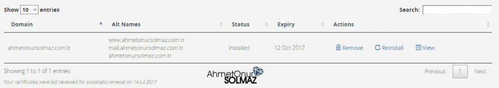 Ücretsiz SSL sertifikası kurulumu tamamlanmış cpanel ekranı